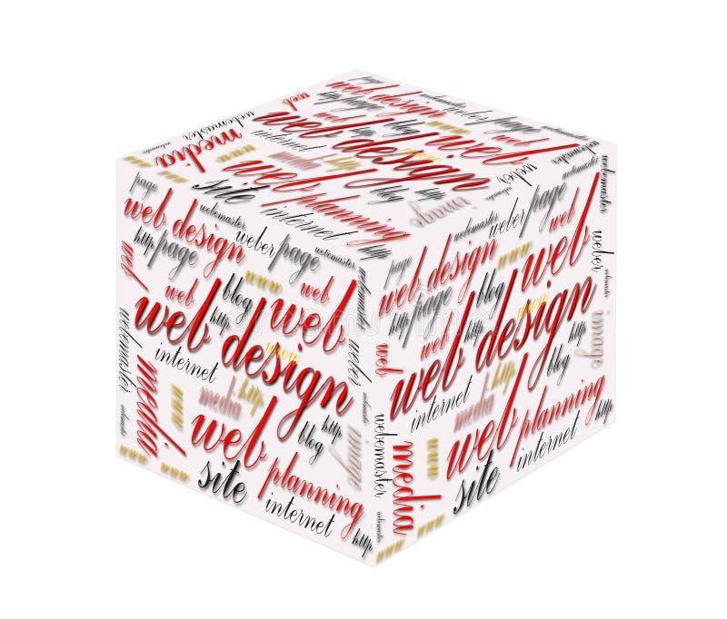 cubo 3d com conceito de design web imagem de stock