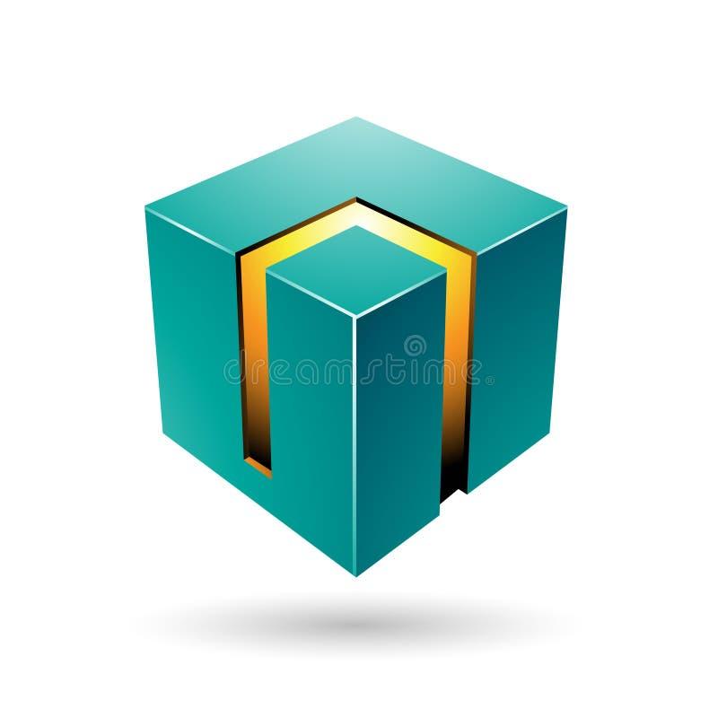 Cubo 3d corajoso verde e amarelo ilustração stock