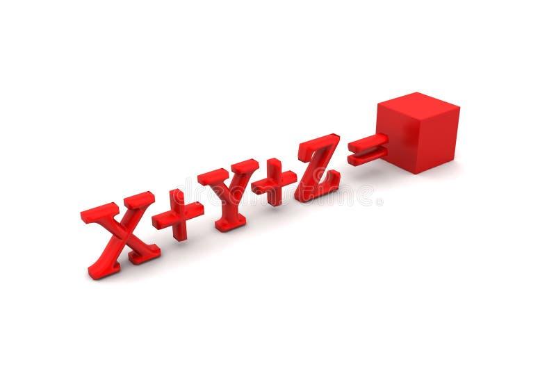 cubo 3d e equação ilustração stock