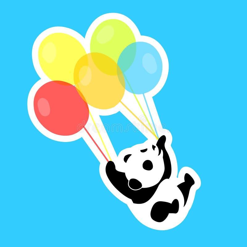 Panda pequena com balões coloridos ilustração royalty free