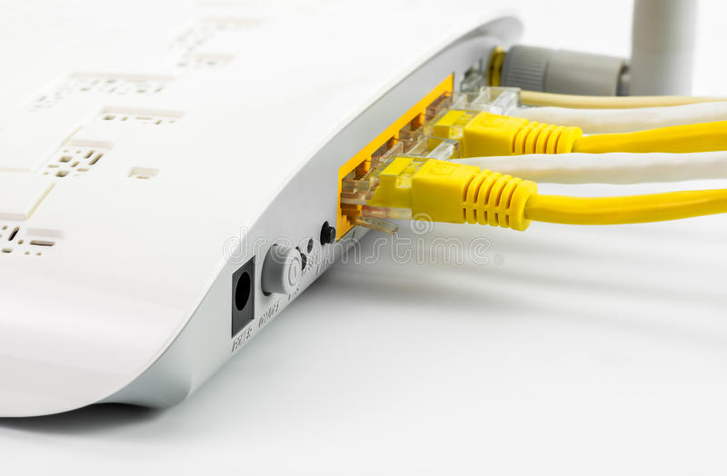 Cubo da rede do roteador do modem fotos de stock
