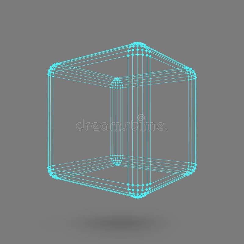 Cubo das linhas e dos pontos Cubo das linhas conectadas aos pontos Estrutura molecular A grade estrutural dos polígono backgroun  ilustração do vetor