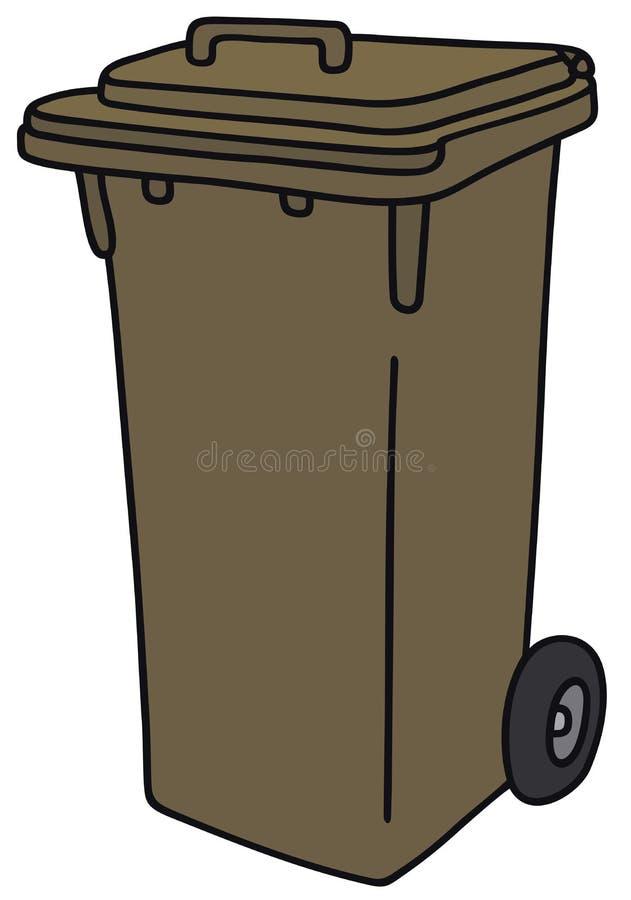 Cubo de basura del plástico de Brown stock de ilustración