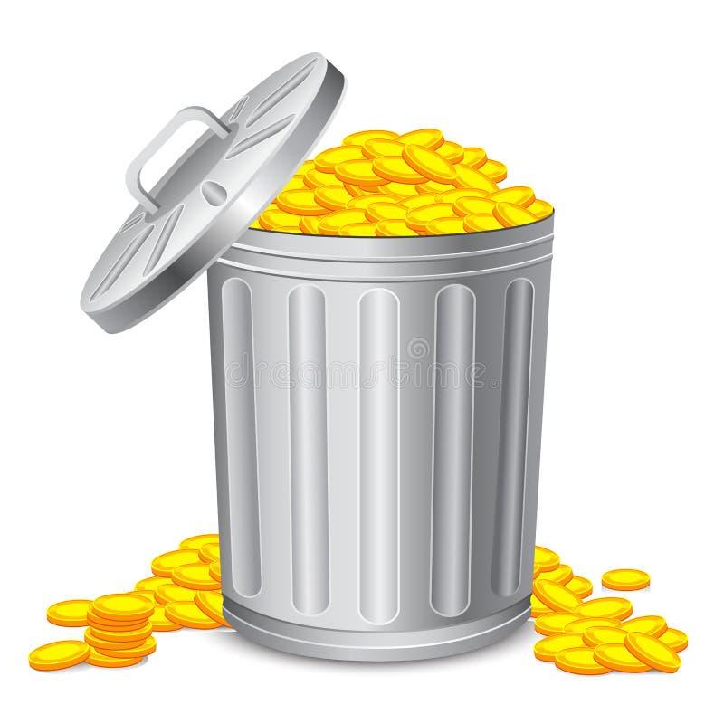 Cubo de basura por completo de la moneda libre illustration