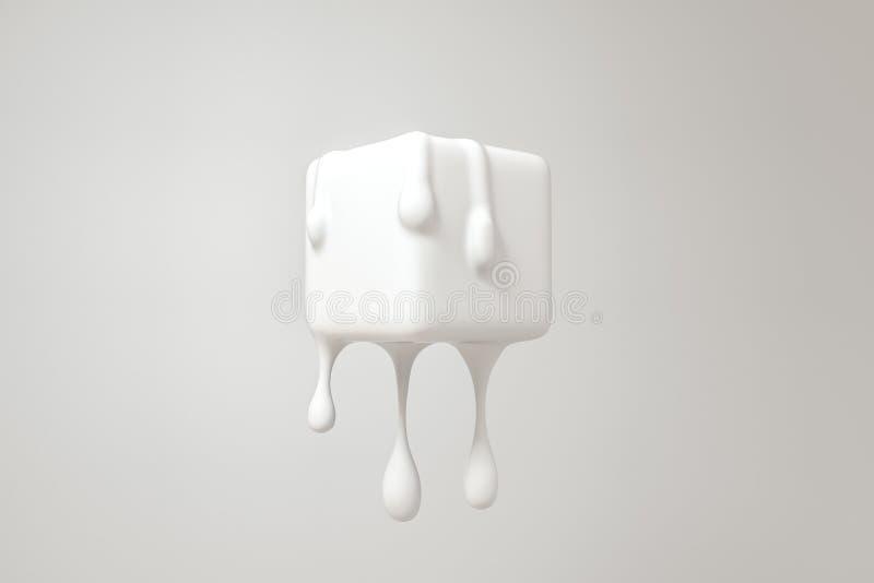 Cubo de derretimento branco com detalhes l?quidos da gota, rendi??o 3d ilustração royalty free