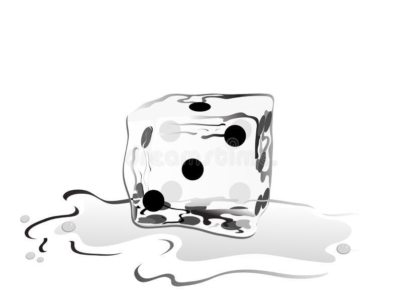 Cubo de gelo como um dado ilustração royalty free
