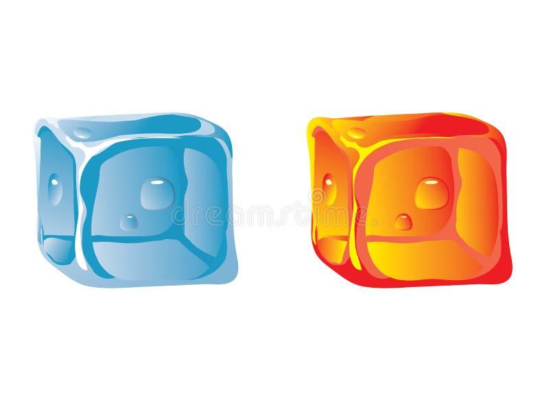 Cubo de gelo da água e do cubo quente ilustração stock