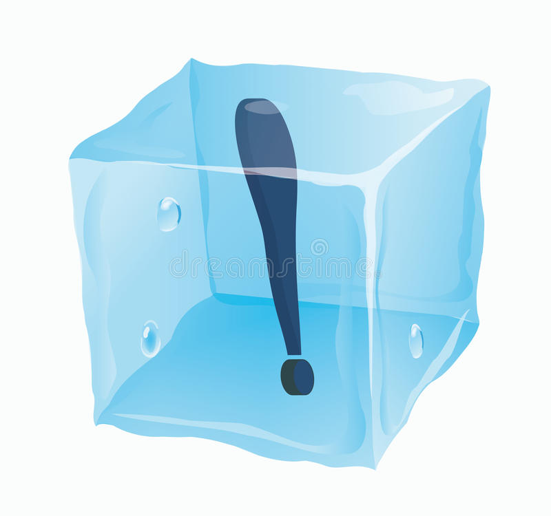 Cubo de gelo em que a marca de exclamação ilustração royalty free
