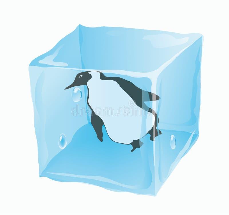 Cubo de gelo em que o pinguim ilustração stock