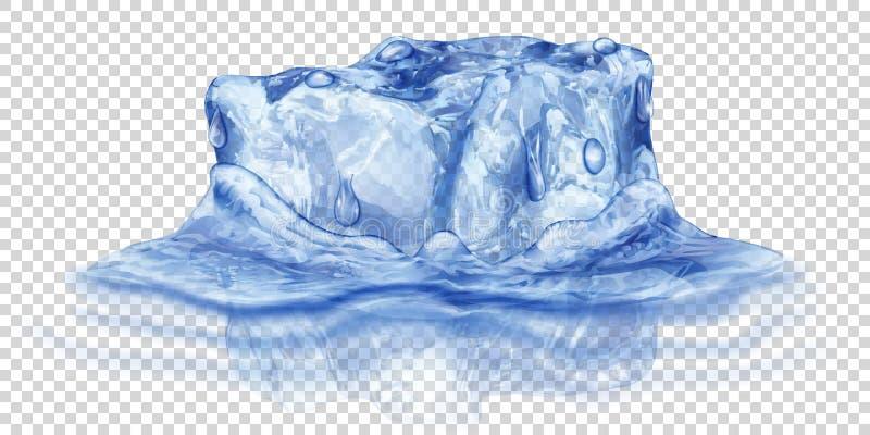 Cubo de hielo en agua ilustración del vector