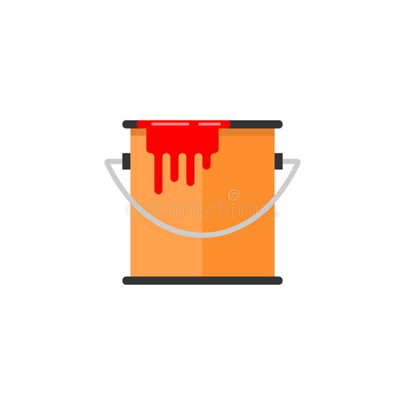 Cubo de icono plano de la pintura, elementos de la reparación de la estructura libre illustration