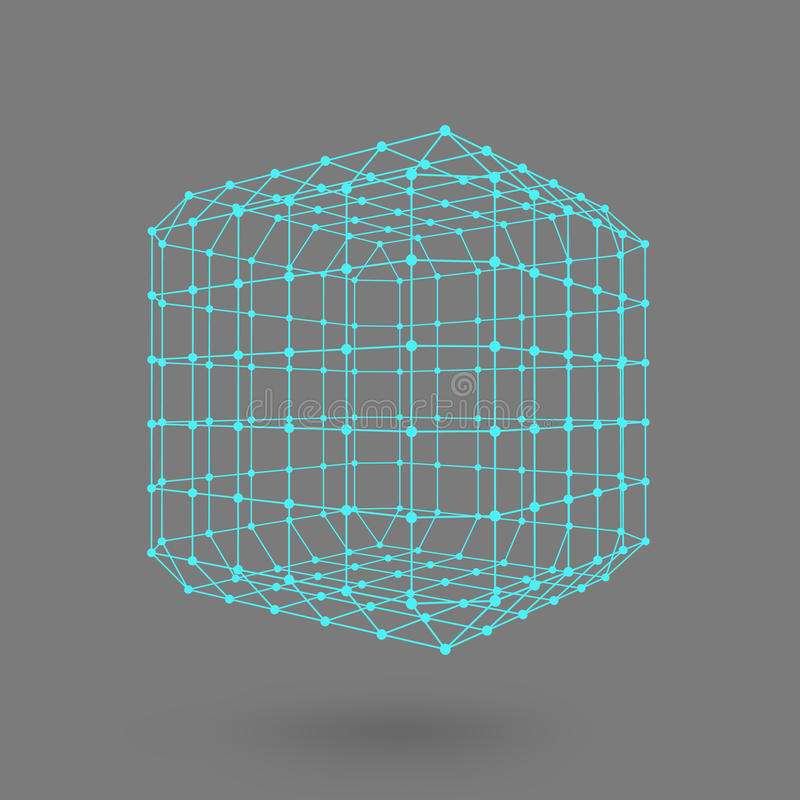 Cubo de líneas y de puntos Cubo de las líneas conectadas con los puntos Cedazo molecular La rejilla estructural de polígonos back ilustración del vector