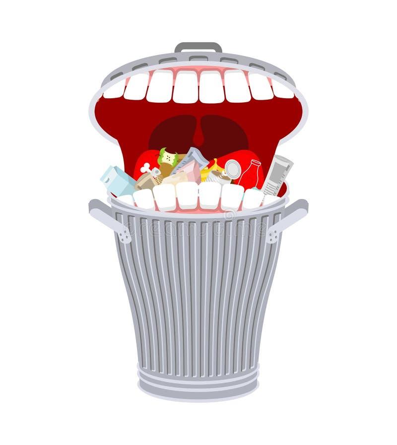 Cubo de la basura con los dientes Bote de basura hambriento Come desperdicios libre illustration