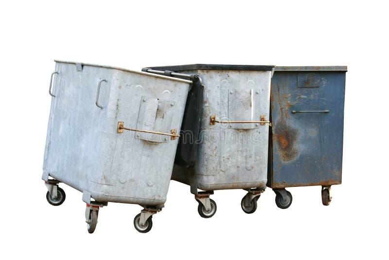 Cubo de la basura del hierro tres fotos de archivo libres de regalías