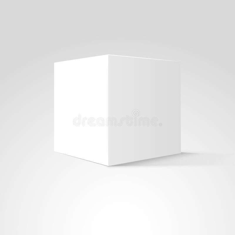 Cubo de la caja blanca aislado en el fondo blanco Diseño vacío en blanco del paquete 3d sombra gris Objeto del diseño de producto ilustración del vector