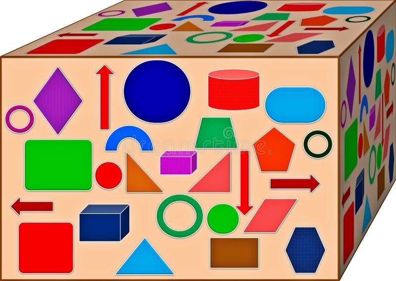 Cubo de la geometría colorida Fondo ilustraci?n 3D ilustración del vector