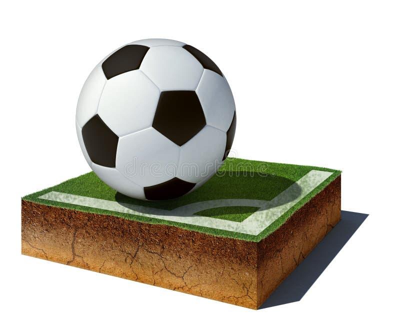 Cubo de la suciedad con el balón de fútbol aislado en el fondo blanco stock de ilustración