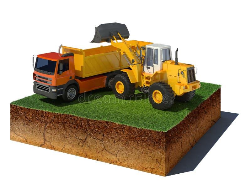 Cubo de la suciedad con el cargamento del camión en el fondo blanco stock de ilustración