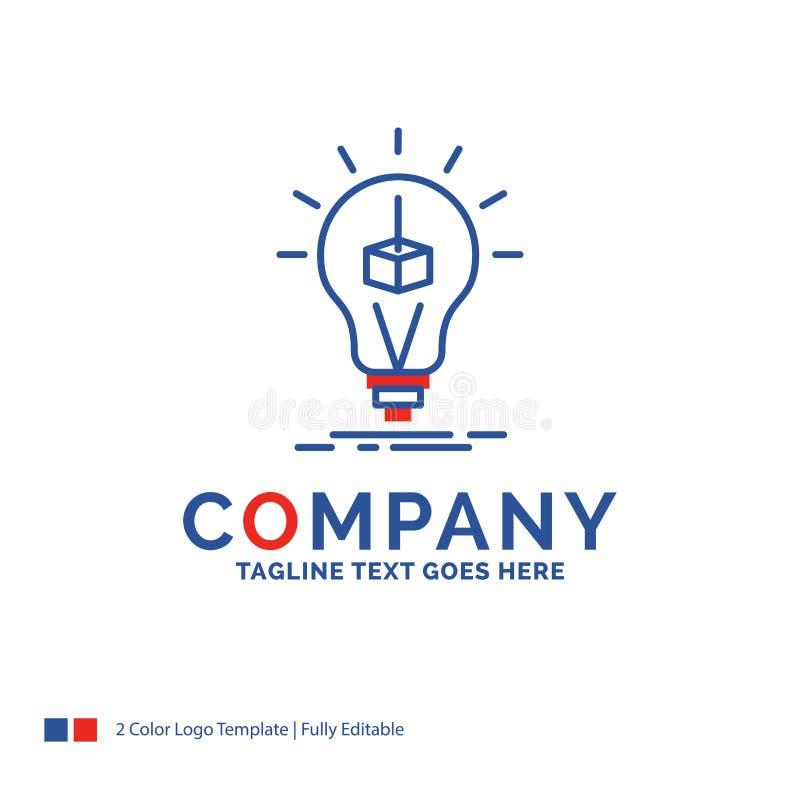 Cubo de Logo Design For 3d del nombre de compañía, idea, bulbo, impresión, caja stock de ilustración
