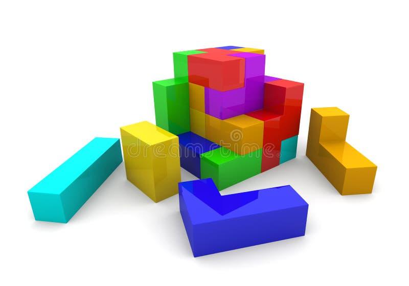 Cubo de los tetris del rompecabezas ilustración del vector