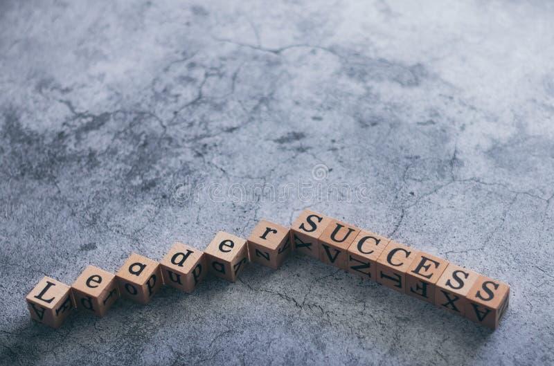 Cubo de madera de Leader y SUCCESO con espacio de copia Idea de motivación e inspiración en la visión empresarial y empresarial foto de archivo