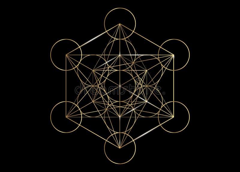 Cubo de Metatrons, flor de la vida Geometría sagrada de oro, ejemplo aislado vector gráfico del elemento Sólidos platónicos del i ilustración del vector