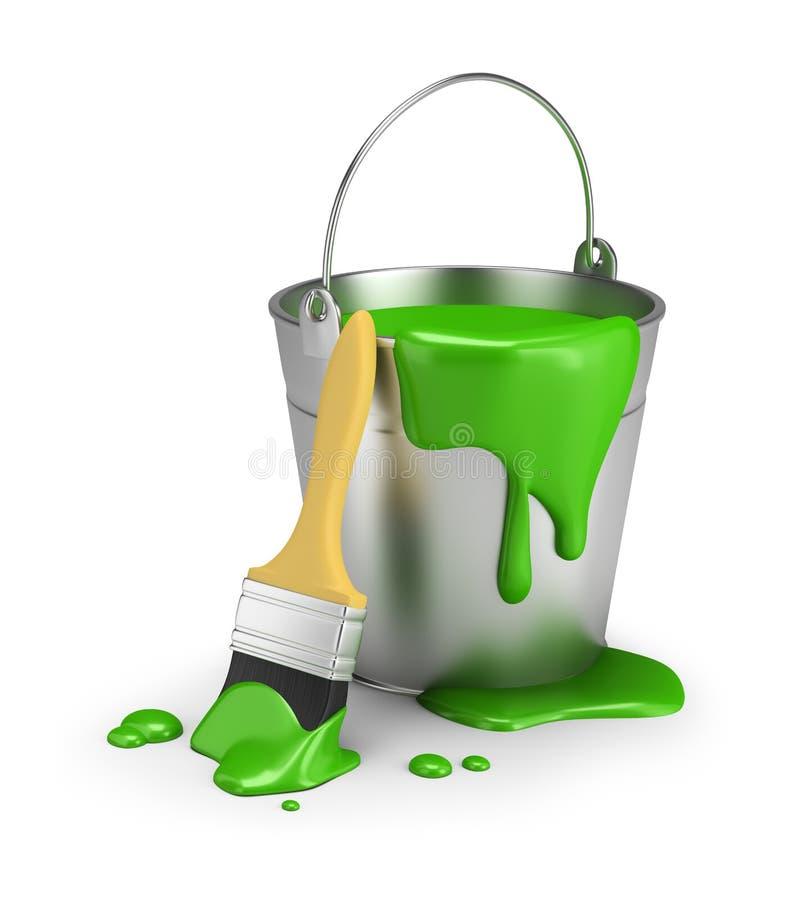 Cubo de pintura verde ilustración del vector