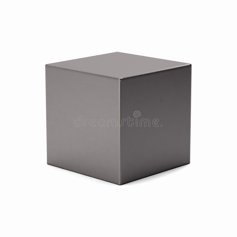 Cubo de plata aislado en el fondo blanco 3d rinden la ilustración stock de ilustración