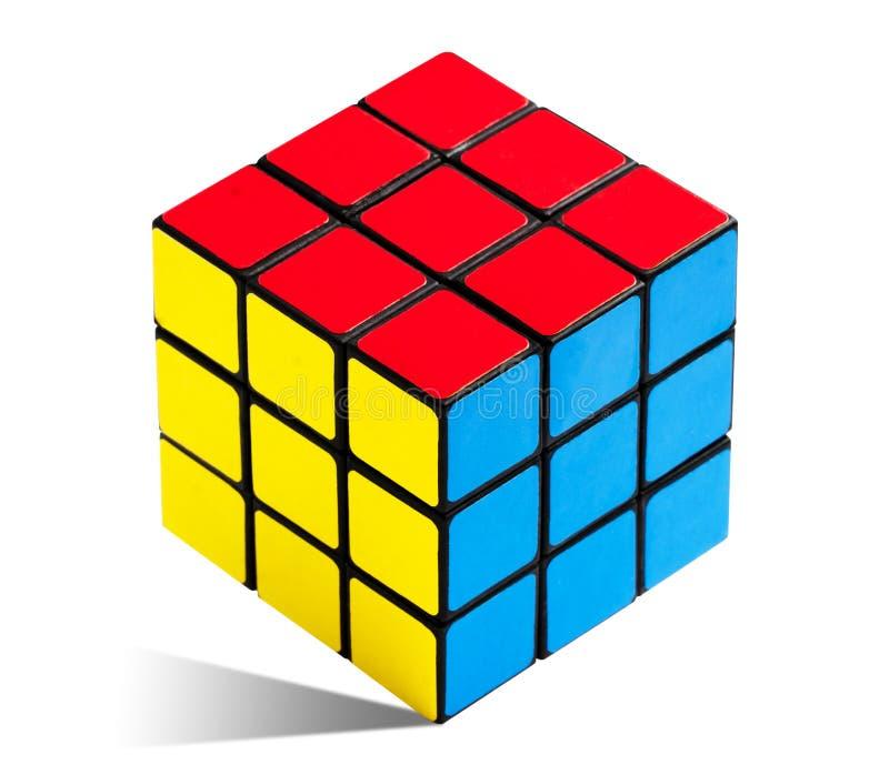 Cubo de Rubik s Rubiks solucionado imagen de archivo