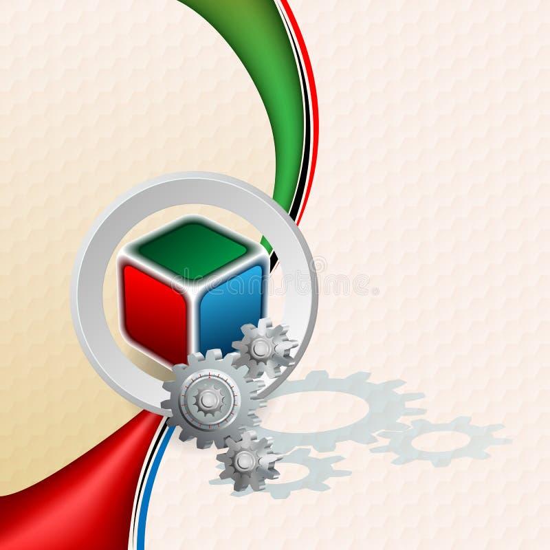 Cubo de três dimensões no projeto geométrico e no fundo sextavado do teste padrão ilustração do vetor