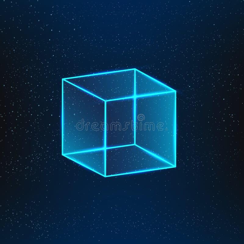 Cubo de vidro azul ilustração stock