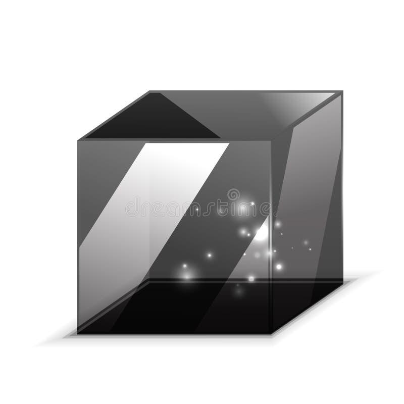 Cubo de vidro do vetor 3d isolado no branco ilustração royalty free
