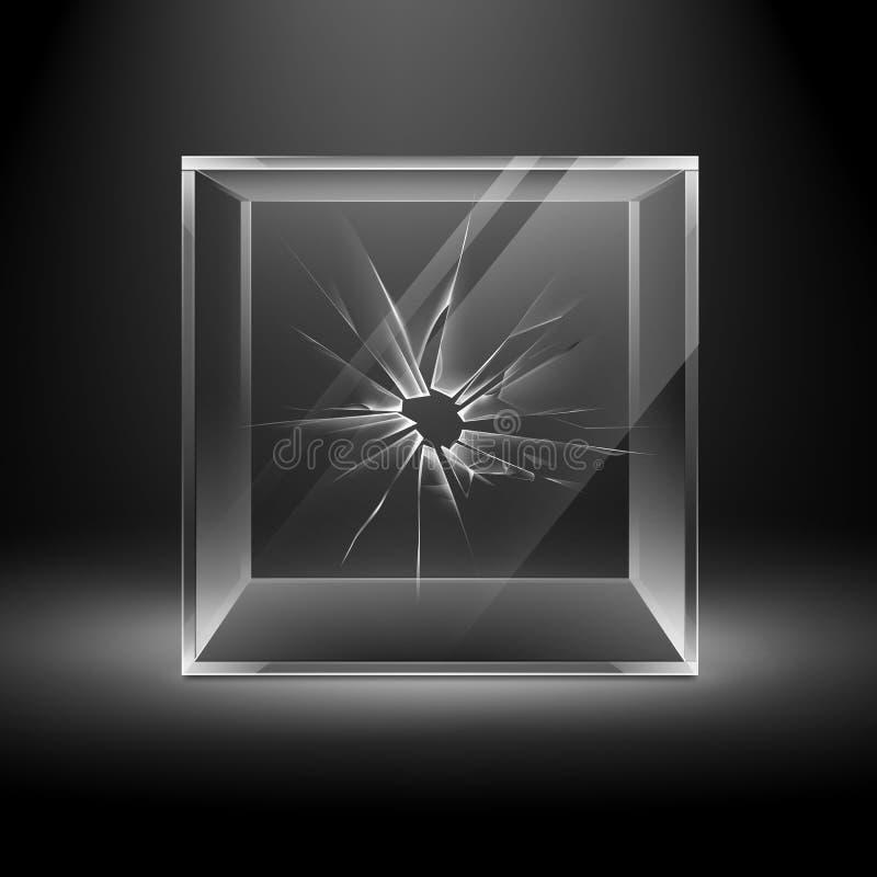 Cubo de vidro quebrado transparente vazio da caixa da quebra ilustração do vetor