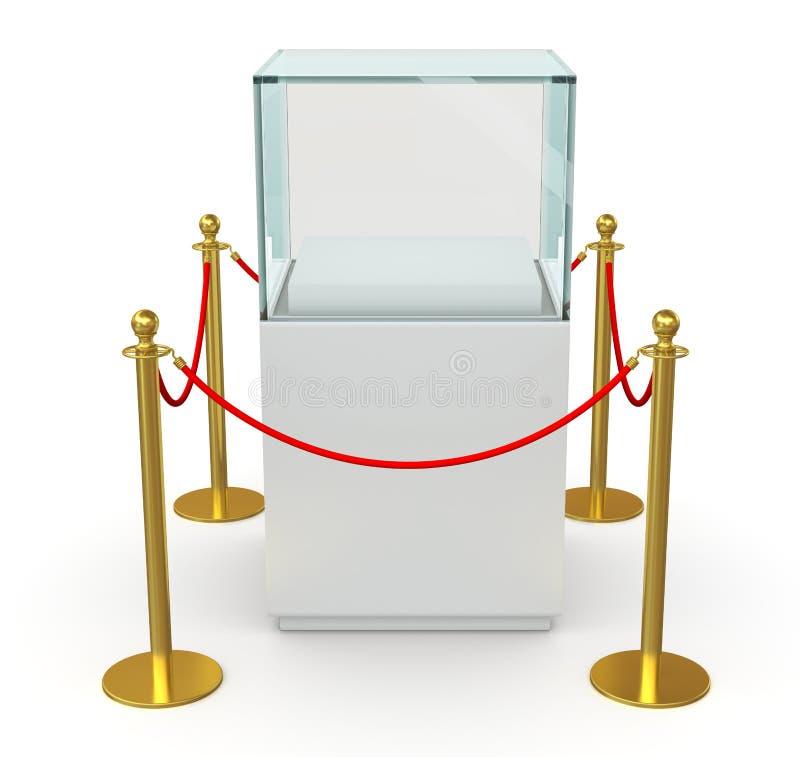 Cubo de vidro vazio com corda da barreira ilustração stock