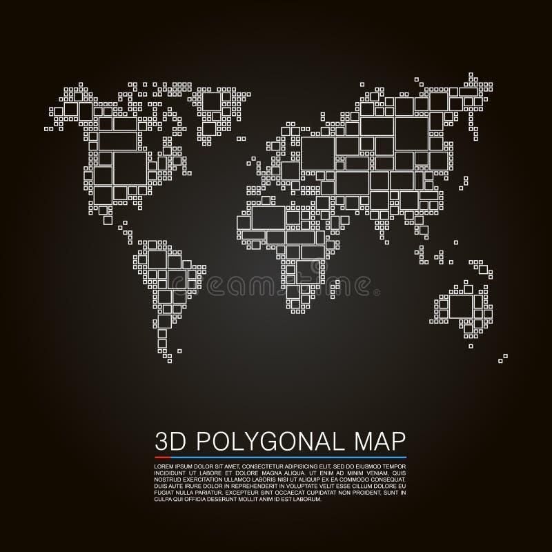Cubo del arte del polígono del mapa 3d libre illustration