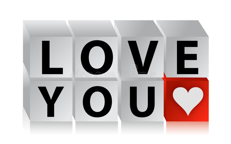 cubo del botón del amor 3D ilustración del vector