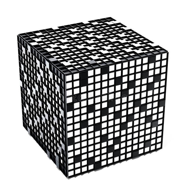 Cubo del crucigrama aislado en el fondo blanco ilustración 3D stock de ilustración