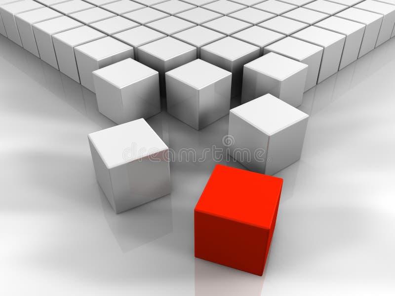 cubo del rojo 3D stock de ilustración