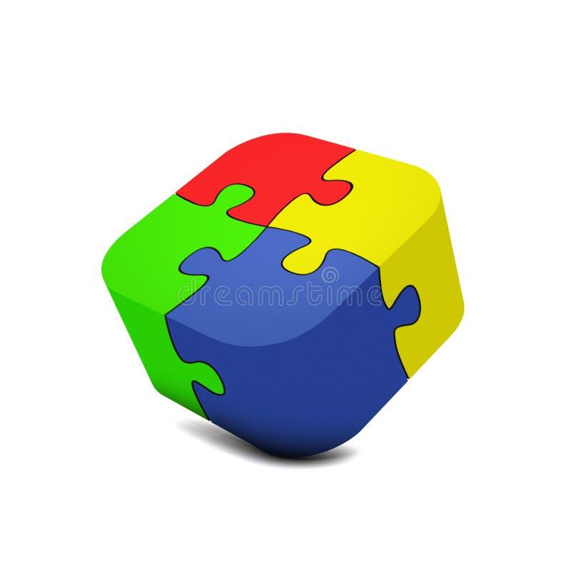 Cubo del rompecabezas ilustración del vector