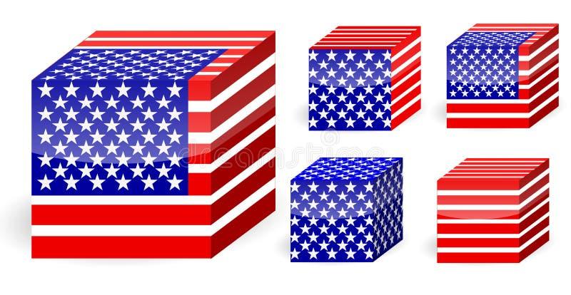 Cubo della bandierina dell'America illustrazione vettoriale