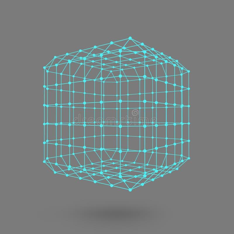 Cubo delle linee e dei punti Cubo delle linee collegate ai punti Grata molecolare La griglia strutturale dei poligoni backgroun n illustrazione vettoriale