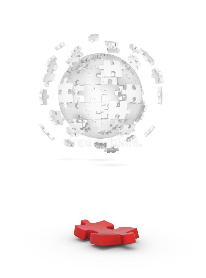Cubo descompuesto del rompecabezas y del elemento rojo libre illustration