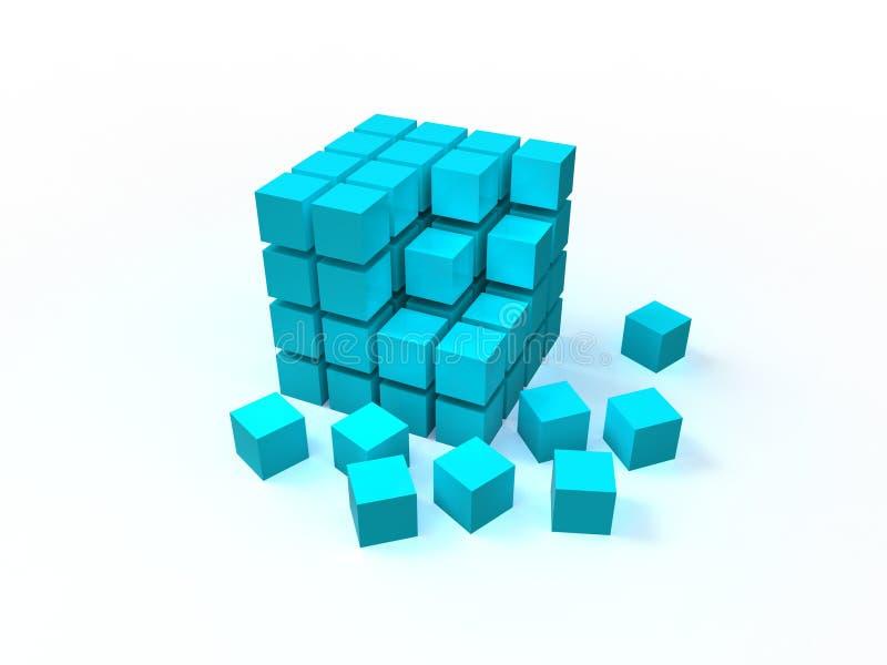 cubo desordenado azul 4x4 que ensambla de bloques libre illustration