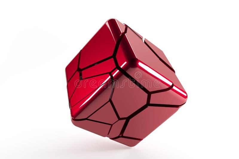 Cubo destructed rojo 3d con las líneas agrietadas stock de ilustración