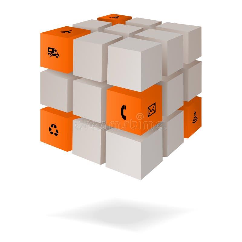 Cubo di informazioni immagine stock