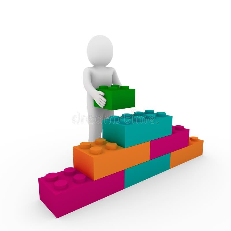 cubo di pietra umano 3d illustrazione di stock