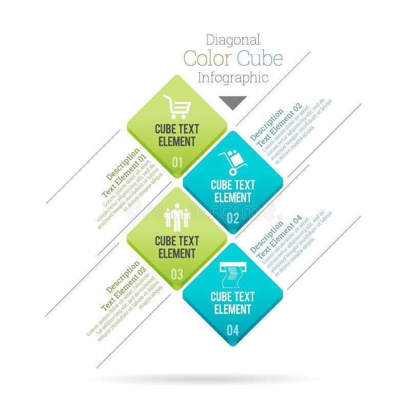 Cubo diagonal Infographic da cor ilustração royalty free