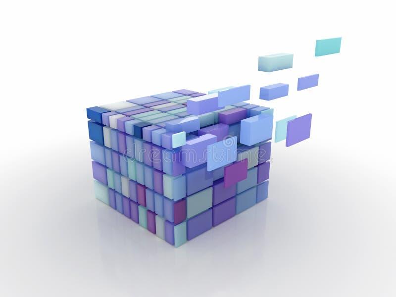 Cubo dividido nas peças ilustração do vetor