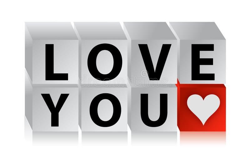 Cubo Do Botão Do Amor 3D Imagem de Stock Royalty Free