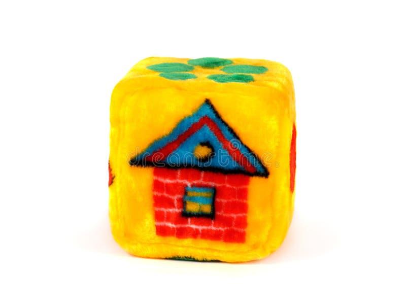 Cubo do brinquedo com teste padrão da casa imagens de stock royalty free